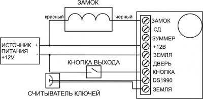 «ШЕРИФ-1 лайт» картинка схема подключение замка к контроллеру